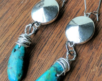 Genuine Turquoise Gunmetal Dangle Earrings in Silver