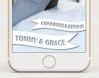 Snapchat Geofilter, White banner Snapchat Geofilter, Wedding banner geofilter, custom geo filter, snapchat wedding chic, congratulations W32