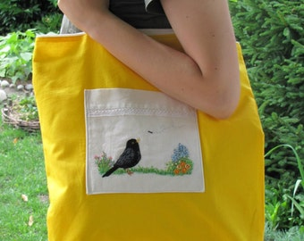 Tote Market Bag Handmade Embroidery Bag Bird Blackbird Floral Motif Hand Embroidered Shopping Bag Shoulder Bag Cotton Canvas Bag Yellow Bag