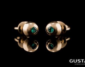 Yellow Gold & Emerald Earrings