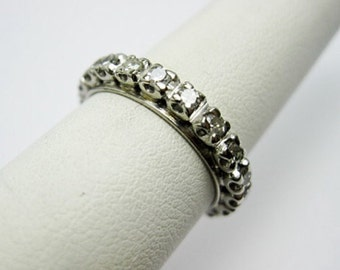 1920s Art deco 1ct Eterny, Weddingbandring, Platin und echte Diamantén, Ehering