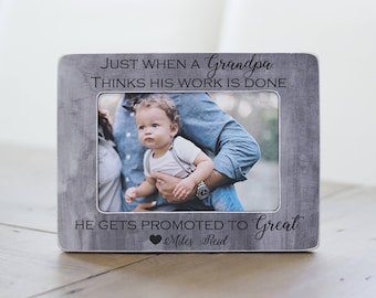 Gift for Great Grandpa, Great Grandpa Gift, Get Promoted to Great Grandpa, Personalized Picture Frame