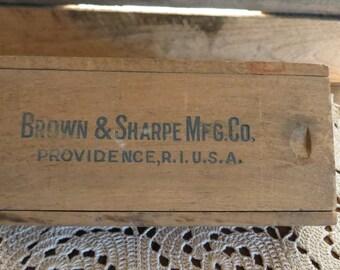 Vintage Wood Box, Brown and Sharpe Inside Mocrometer Caliper, Tool