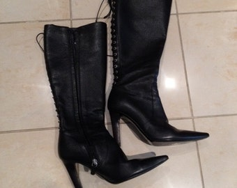 Valentino Black Lace up Boots