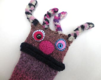 "Smartphone Monster ""Birgit"" Handytasche iPhone 4s, Xperia Z 1 compact, S 5 mini bag, felt, shell, mobile, felted, knitted wool case"