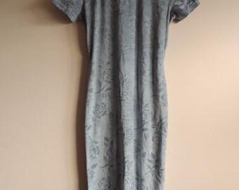 FREE SHIPPING - Vintage Suzy PHILLIPS 90's Light Blue Rose velvet maxi dress with zipper and backside split