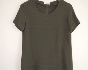 FREE SHIPPING - Vintage Silvia CHARREL green, khaki top with side zip, size 42, Made in Italy