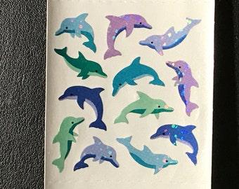 Sandylion Stickers Scrapbook, vintage Glittery Mini Dolphins, Dolphin  (1 mod)