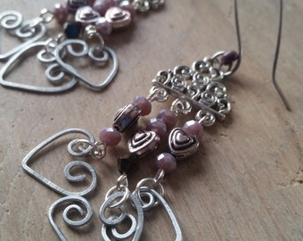 Long earrings, original and charming. Unique hearts, handmade. One of a kind earrings.
