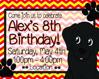 Black Labrador Kids Birthday Invitation