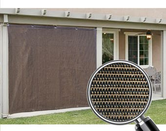 Custom Sized Sun Shade Privacy Panel with Grommets on 2 Sides for Patio, Awning, Window Cover, Canopy, Pergola or Gazebo - Mocha Brown