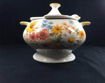 Vintage Floral Porcelain/ Ceramic Punch Bowl With Porcelain Spoon