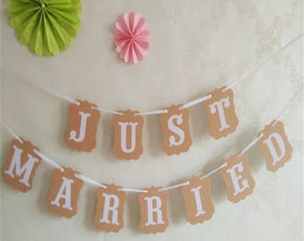 "Rustic Kraft ""JUST MARRIED"" wedding banner. Party banner. Wedding annoucement."