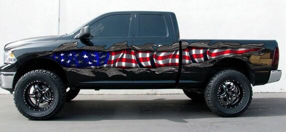 Ripped Metal Full Color Car Vinyl Design Us Flag Car Wrap