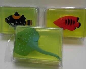 Kids Critter Soap - fish - shark - dolphin - whale - stingray - glycerin - toy in soap - kids gift - birthday - Christmas - stocking stuffer