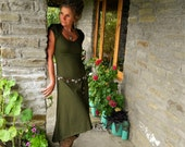 Green long dress, Khaleesi wear, Sleeveless dresses, Rustic style for her, Boho clothes for women, Eco chic, Fairy clothing, Tribal fashion