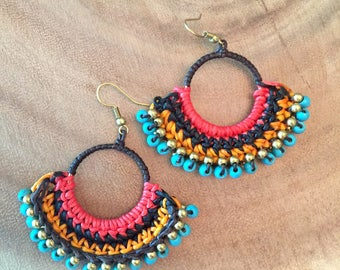 Colorful Beaded Statement Earring,Bead Weaving Earring,Dangle Earring,Bead Weaving Jewelry,Dangles,Boho Women Earring,Colorful Hoop Earrings