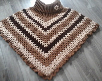 Poncho with matching hat. ( crochet)