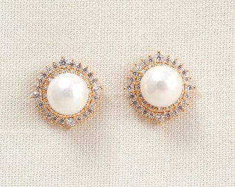 Wedding Bridal Pearl and Swarovski Crystal Earrings JSB10072EGold