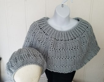 Hand Crochet Grey Cape and Hat set
