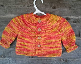 Hand Knitted Children Sweater Cardigan Orange/Yellow Varigated Wool