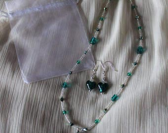 Teal heart necklace and earrings set