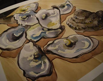 SALE Original Oyster Watercolor, 22x16.5 inch