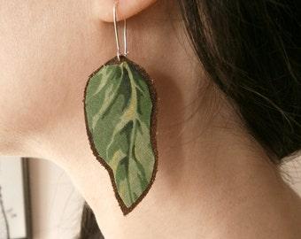 Leaf Earrings. Leather and fabric long earrings.