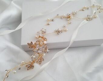 Wedding Hair Vine, Bridal Head Piece, Bridal Hair Accessories, Gold Hair Piece, Silver Hair Accessory, Rose Gold Hairpiece
