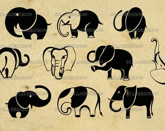 Digital SVG PNG JPG Elephants, vector, clipart, silhouette, instant download