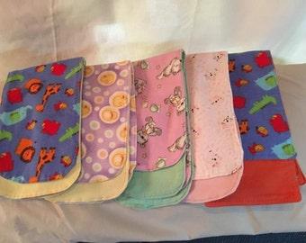 5 Flannel Baby Burp Cloths