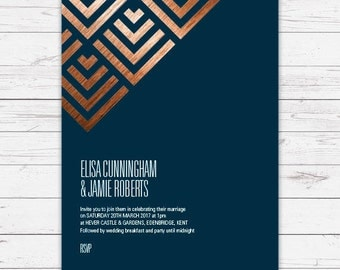 Wedding invitation - Geometric design, personalised, customisable and pre-printed with your guests names