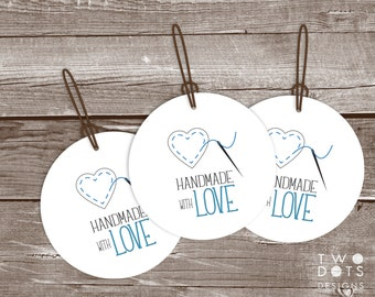 Printable Gift Tags - Handmade with Love, Round Gift Tag, Gift Tag for Homemade Gift