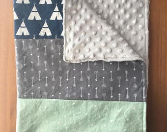 Tents & Arrows Large Baby Boy Blanket