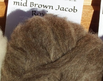Mid Brown natural undyed Jacob Roving 50g pack