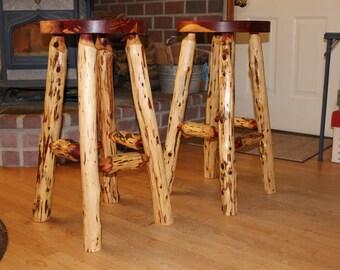 "30"" Rustic Cedar log barstool"
