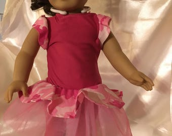 "18"" Pink Camo Doll Dress with leggings"