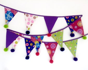 Bright and cheerful bunting with woollen pom poms and OPTION TO PERSONALISE in pink, blue, lime and purple.