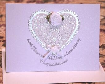 60th Diamond Wedding Anniversary White Glitter Sparkle Congratulatory Card