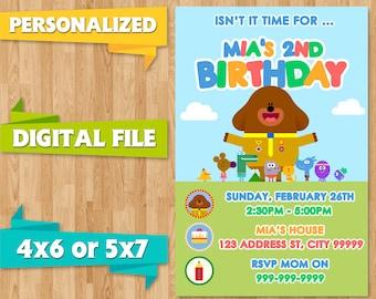 Hey Duggee Duggie Birthday Party Invite Invitations Baby Shower Printable CUSTOM