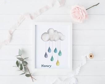 Personalised Rain Drop A4 Print/ Personalised Gift/ Raindrop/ Nursery Print/ Nursery Decor