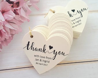 10 Personalised Wedding Favour Tags, Thank You - Heart Shaped Tag