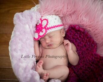 Crochet Baby Girl Hot Pink and White Flower Beanie Newborn Handmade Photo Photography Prop Baby Shower Gift
