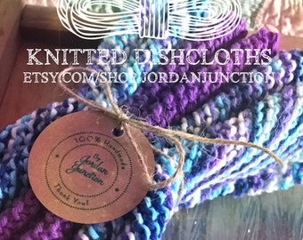 Knitted Cotton Dishcloths Moondance & Black Currant