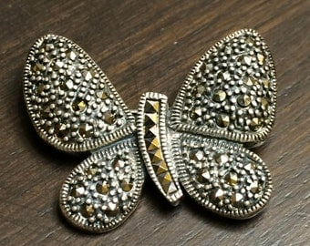 Art Deco Vintage Silver 925 Butterfly Brooch with Marcasite stones 1980s