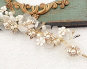 Soft golden palace retro bridal wedding tiara hair jewellery prom headpiece