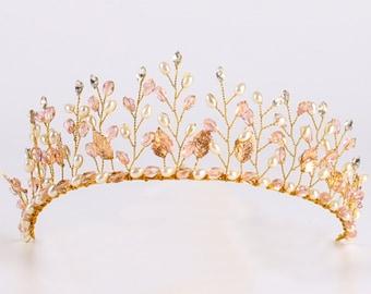Floristic Crystal & Pearl Bridal Gold Tiara Crown Prom Headpiece