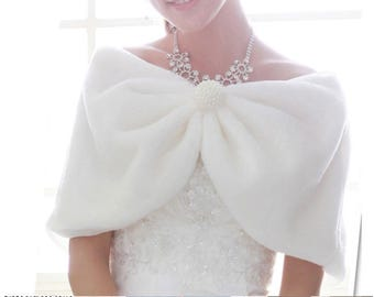 SALE 20% OFF- Ivory or White Plush Faux Fur Shrug Bolero Shawl Cape Bridal Wedding Jacket
