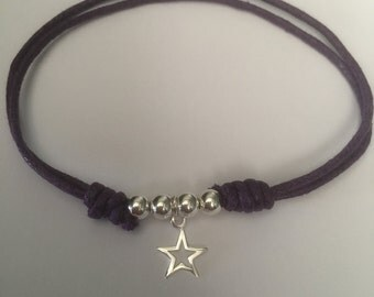 Plum cord and sterling silver bracelet