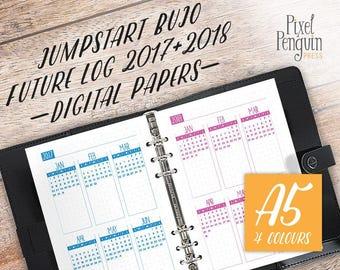 Future Log, Yearly Agenda Calendar, 2017-2018 Planner, Insert A5, Printable Bullet Journal Template, Bujo Starter Kit, Year at Glance